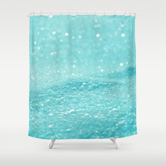 Turquoise Bath Rugs For Dry The Feet Simple Turquoise: Glitter Turquoise Shower Curtain By Alice Gosling