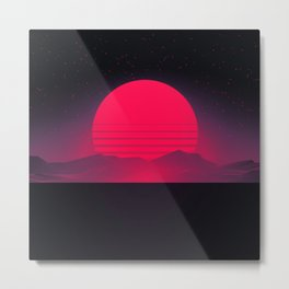 Synthwave Sunset Metal Print