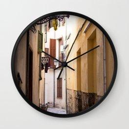 Street in Palma de Mallorca old town- Travel photography -Fine art print Wall Clock