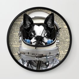 Space Pup with dictionary background Wall Clock