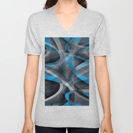 Eighties Pastel Blue and Grey Arched Line Pattern Unisex V-Neck