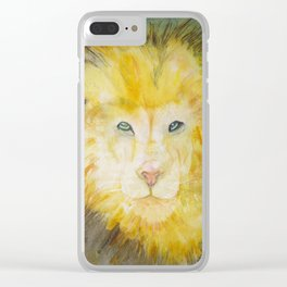 Portrait of a lioness on a greenish background Clear iPhone Case