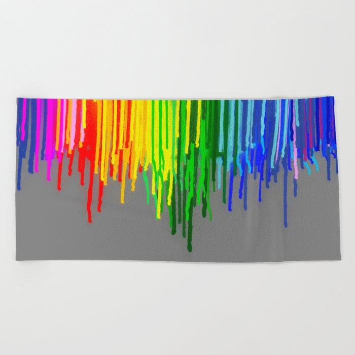 Rainbow Drips Gray Beach Towel