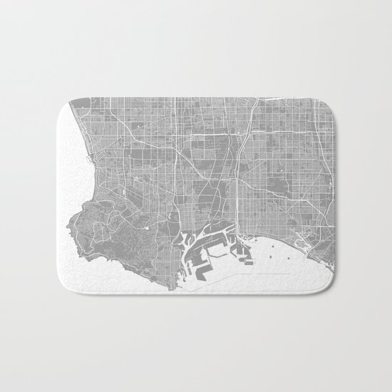 Los Angeles map grey Bath Mat