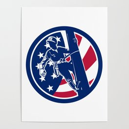 American Lineworker USA Flag Icon Poster