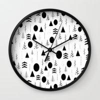 alisa burke Wall Clocks featuring Warli Painting by 83 Oranges™