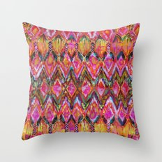 Ikat #32 Orange Throw Pillow