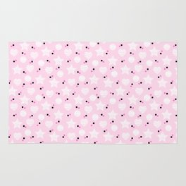 Baby pink pattern with stars and hearts Rug