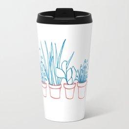 Teal Plants in Red Pots Travel Mug