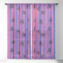 pink no blue bounding spinning wheel stripes 2 Sheer Curtain