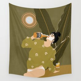 Drinking From The Bottle Wall Tapestry