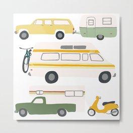 Vintage RV Motorhome Trailers Campers Metal Print