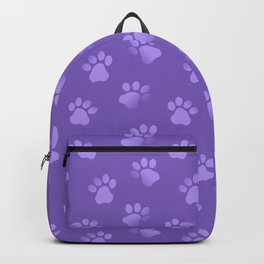 Cat Dog Paw Print Pattern in Purple Backpack