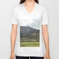 scotland V-neck T-shirts featuring Scotland Countryside by Ashley Callan