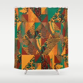 Geometrical orange brown green abstract safari animal print Shower Curtain
