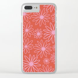Pretty Floral Pattern - Pink, Red Clear iPhone Case