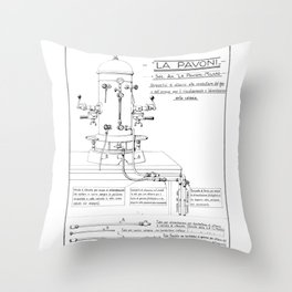 La Pavoni Patent Drawing Poster (Very Old & Rare) Throw Pillow
