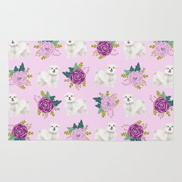 Maltese dog breed florals pattern cute gifts for dog lovers by pet friendly Rug