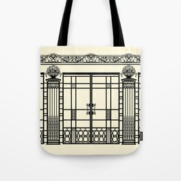 ART DECO, ART NOUVEAU IRONWORK: Black and Cream Tote Bag