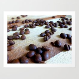 Scattered Coffee Beans Art Print