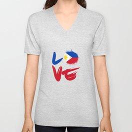 Country Manila Ph Gift Love Philippines Flag Filipino Filipina Pinoy Pinay Unisex V-Neck