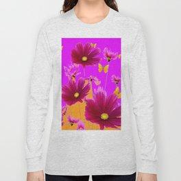 DECORATIVE YELLOW BUTTERFLIES & FUCHSIA PURPLE SPRING FLOWERS GARDEN ART Long Sleeve T-shirt