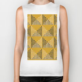 Layered Geometric Block Print in Mustard Biker Tank