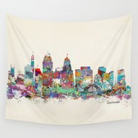 ohio Wall Tapestries featuring Cincinnati Ohio skyline by bri.buckley