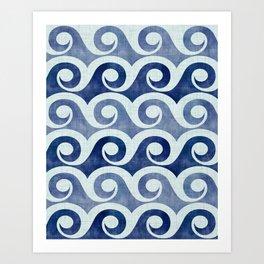 Retro Tropical Beach Waves - Indigo Blue Woodblock Art Print