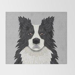 Black Border Collie Throw Blanket