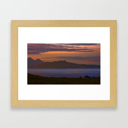 A sunset view to Rhum and Eigg Framed Art Print