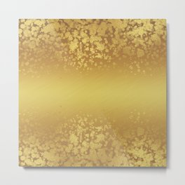 Chic Stylish Elegant Gold Glitter Confetti Metal Print