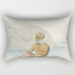 The secret prayer (Gayatri Jup) from The Sundhya or the Daily Prayers of the Brahmins (1851) by Soph Rectangular Pillow