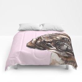 Sneaky Melancholic Pug in Pink Comforters