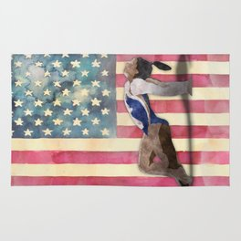 All American Gymnast Watercolor Rug