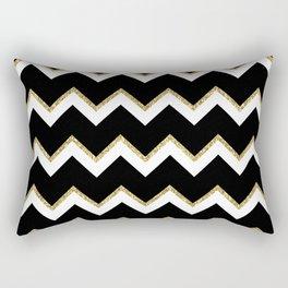 Black Gold White Chevron Pattern Rectangular Pillow