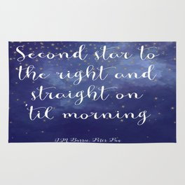 Second star to the right and straight on 'til morning - J.M. Barrie, Peter Pan Rug