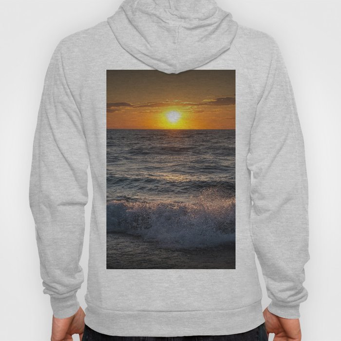 Lake Michigan Sunset with Crashing Shore Waves Hoody