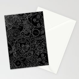 Clockwork B&W inverted / Cogs and clockwork parts lineart pattern Stationery Cards