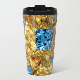 FACETED BLUE  TOPAZ GEMSTONES ON GOLD Travel Mug