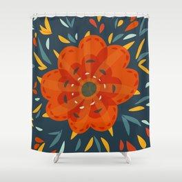 Decorative Whimsical Orange Flower Shower Curtain