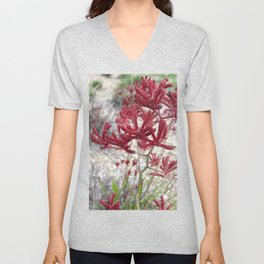Red Kangaroo Paw Unisex V-Neck
