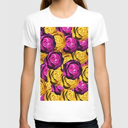 rose pattern texture abstract background in pink and yellow T-shirt