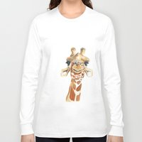 giraffe Long Sleeve T-shirts featuring Giraffe  by Tussock Studio