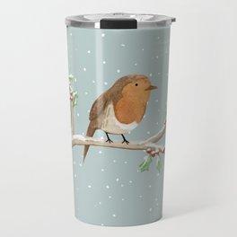 Robin on Branch Travel Mug