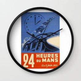 Le Mans 1954, 24hs Le Mans, 1954, original, vintage poster Wall Clock