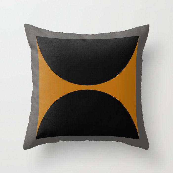 Black and Gray Gradient with Gold Squares and Half Circles Digital Illustration - Artwork Throw Pillow