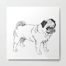 Pug Ink Drawing Metal Print