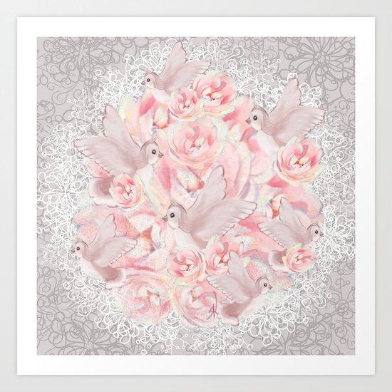 Rose Birds Art Print