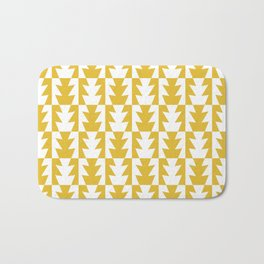 Art Deco Jagged Edge Pattern Mustard Yellow Bath Mat